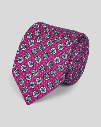 Cotton Silk Print Italian Craft Luxury Tie - Bright Pink