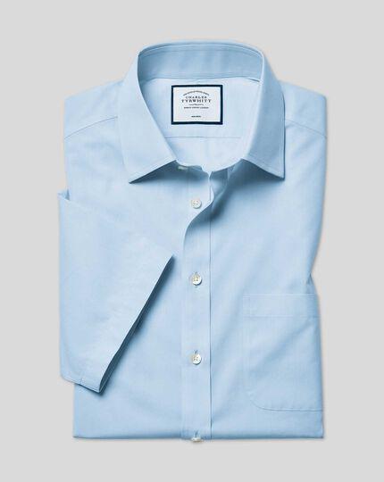 Classic Collar Non-Iron Tyrwhitt Cool Poplin Short Sleeve Shirt - Sky