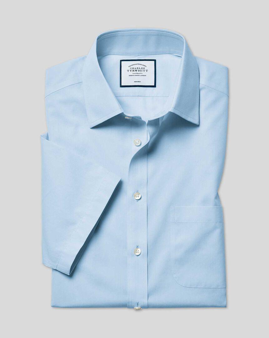 Bügelfreies Tyrwhitt Cool Popeline-Kurzarmhemd mit Kent Kragen - Himmelblau