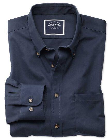 Slim fit non-iron button down collar navy twill shirt