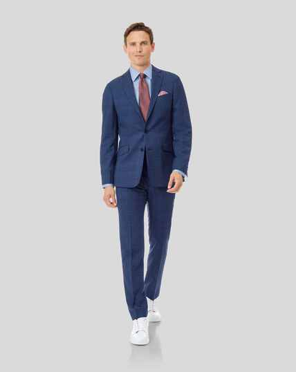 Merino Business Check Suit - Blue