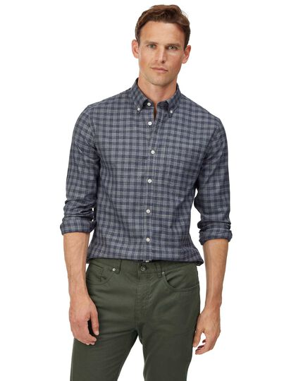 Extra slim fit soft washed non-iron twill grey check shirt