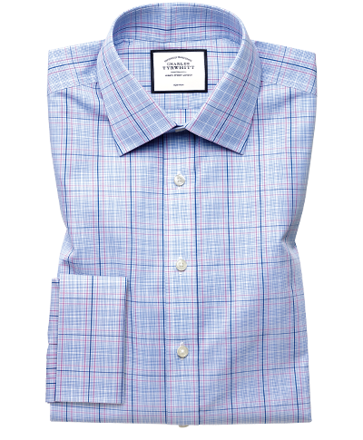 Extra slim fit non-iron Prince of Wales sky blue and pink shirt