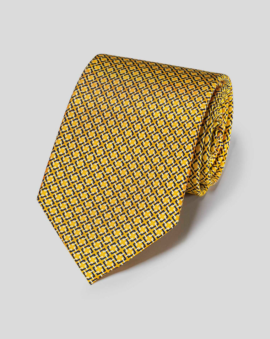 Cross-Hatch Geometric Print Tie - Gold
