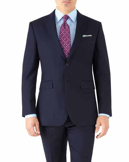 Veste de costume business bleu marine en twill slim fit avec revers en pointe