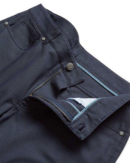 Blue diamond texture stretch 5-pocket trousers