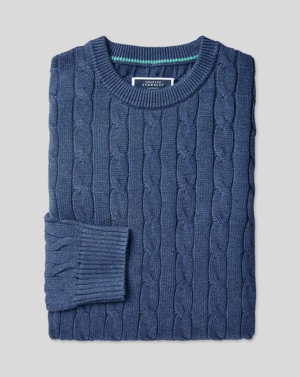 Pima Cotton Cable Sweater - Denim Blue
