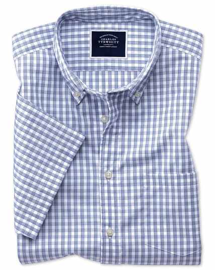 Short Sleeve Gingham Soft Washed Non-Iron Tyrwhitt Cool Shirt - Navy
