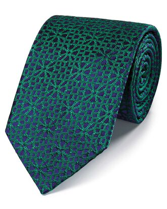 Bright green silk geometric English luxury tie