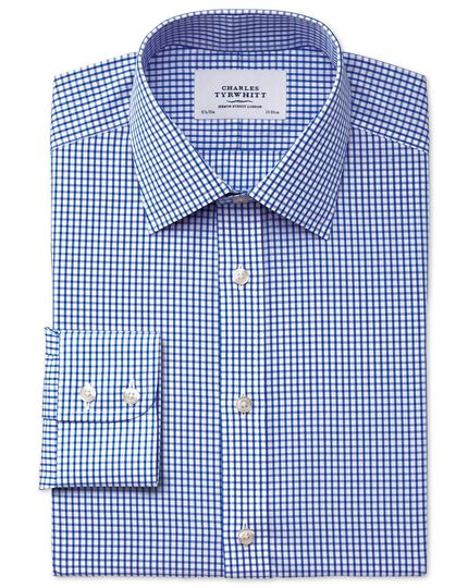 Slim fit non-iron grid check navy blue shirt