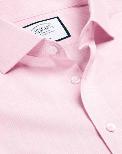 Spread Collar Non-Iron Prince of Wales Check Shirt - Pink