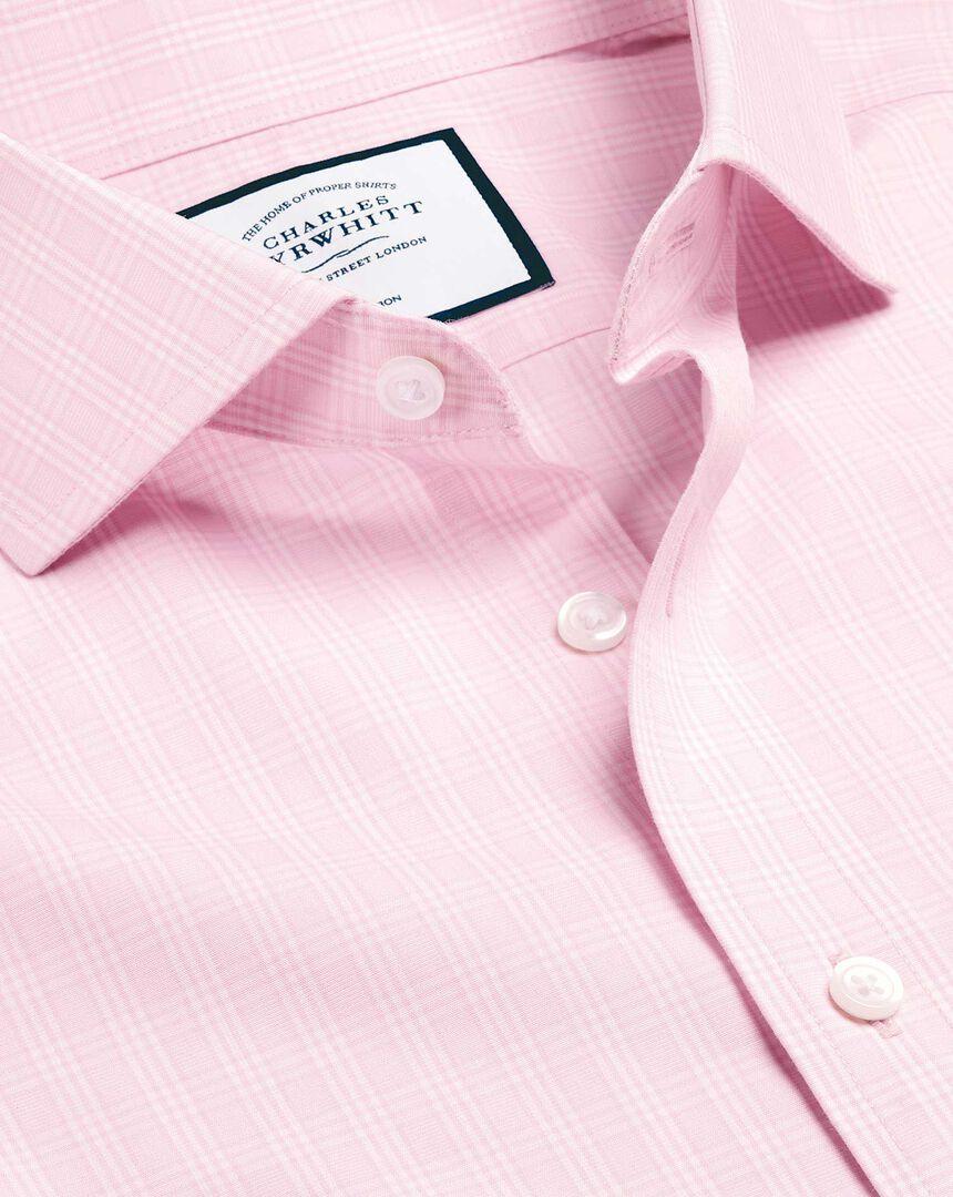 Cutaway Collar Non-Iron Prince of Wales Check Shirt - Pink