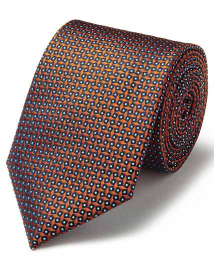 Orange silk geometric square classic tie