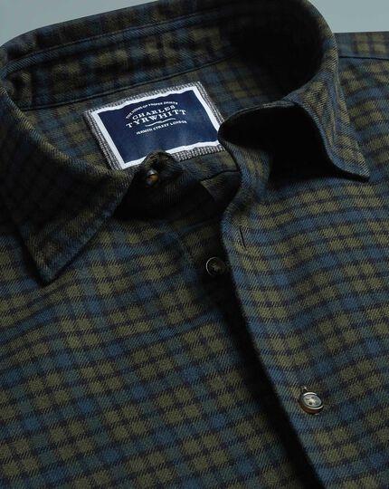 Slim fit green check winter flannel shirt