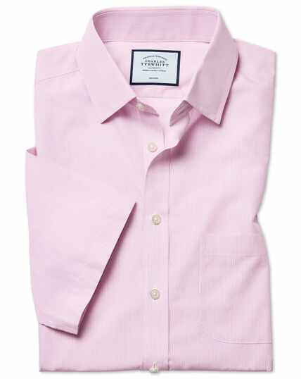 Slim fit non-iron Tyrwhitt Cool poplin short sleeve pink stripe shirt