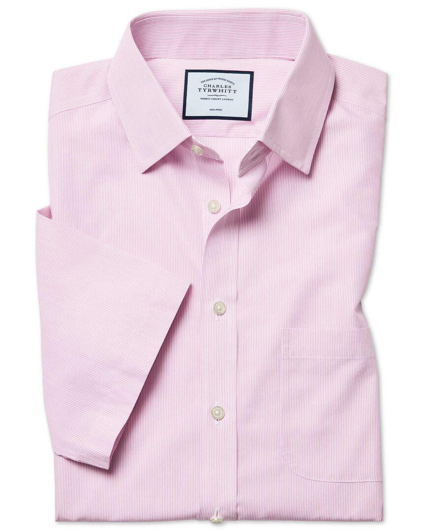 Non-Iron Tyrwhitt Cool Poplin Short Sleeve Stripe Shirt - Pink
