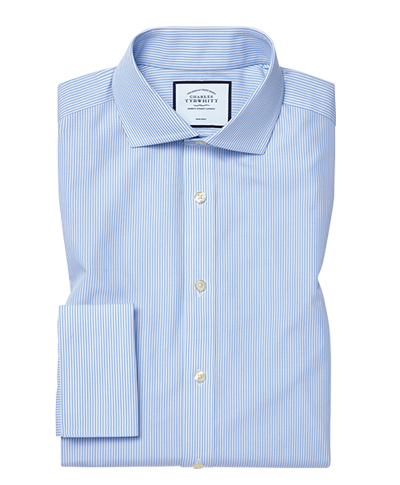 Slim fit  non-iron cutaway sky blue Bengal stripe shirt