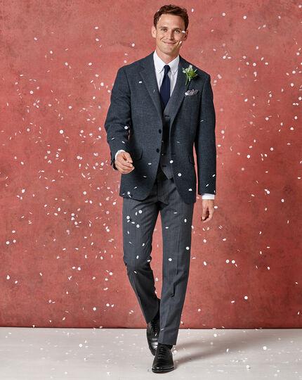 Airforce blue check slim fit twist business suit trouser