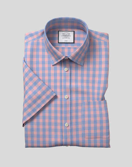 Classic Collar Non-Iron Tyrwhitt Cool Poplin Short Sleeve Check Shirt - Orange