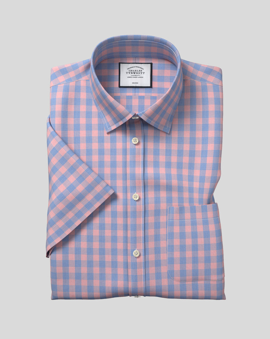 Classic Collar Non-Iron Tyrwhitt Cool Poplin Short Sleeve Check Shirt - Orange