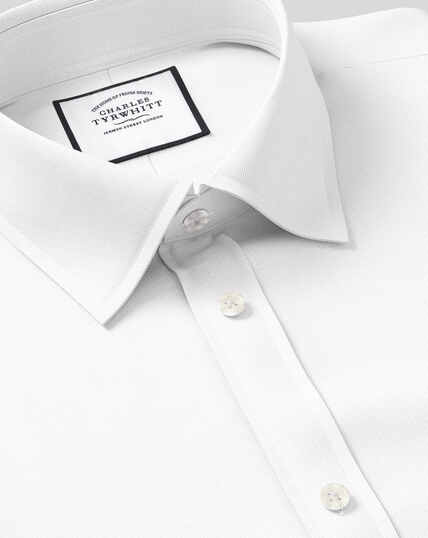 Classic Collar Egyptian Cotton Herringbone Shirt - White