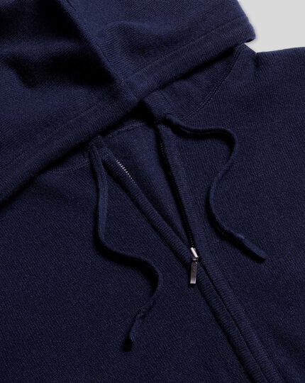 Merino Cashmere Hooded Zip Through Sweater - Navy