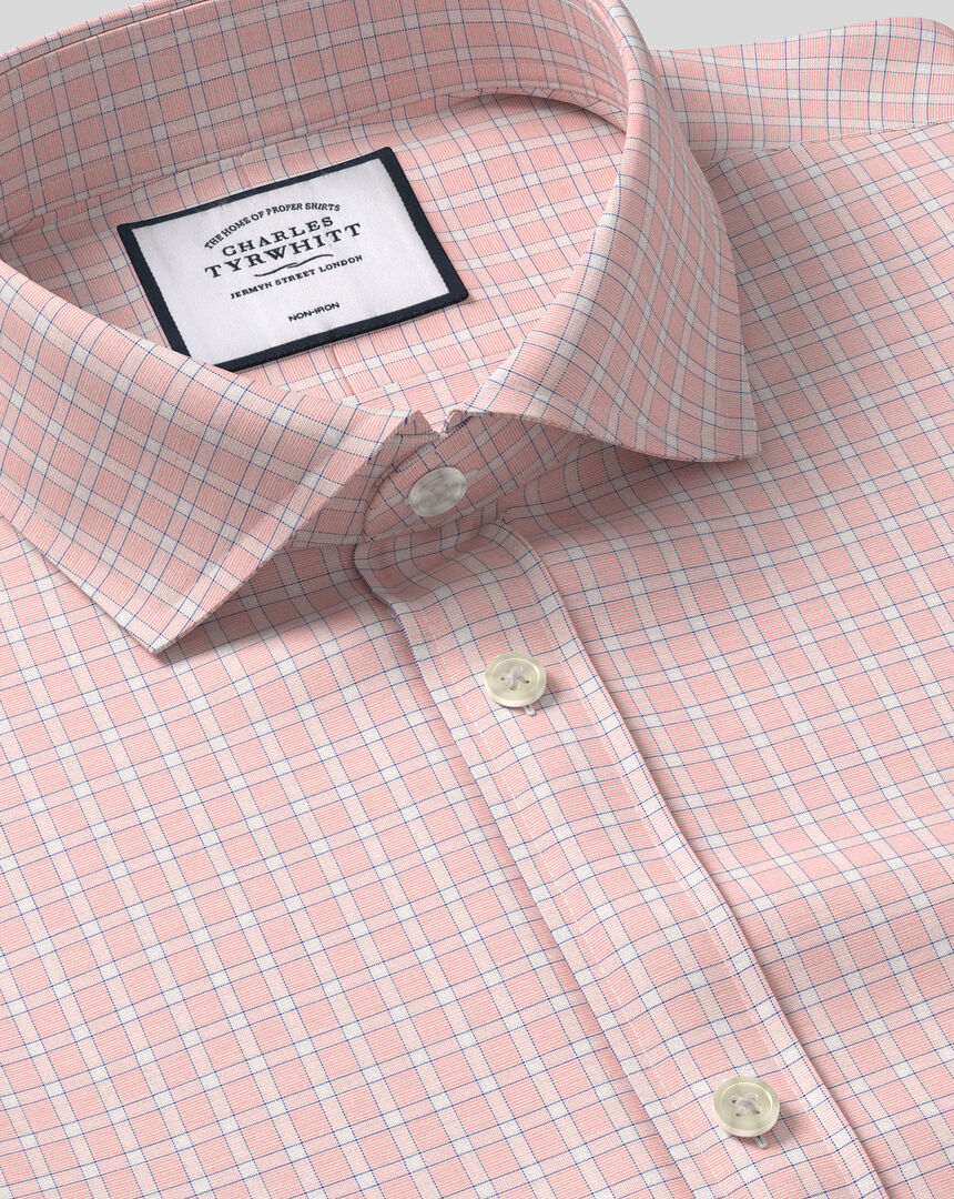 Spread Collar Non-Iron Grid Check Shirt - Pink