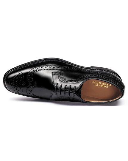 Zwarte Derby wingtip brogue schoenen met Goodyear-rand