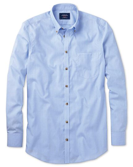 Slim fit non-iron poplin sky blue stripe shirt
