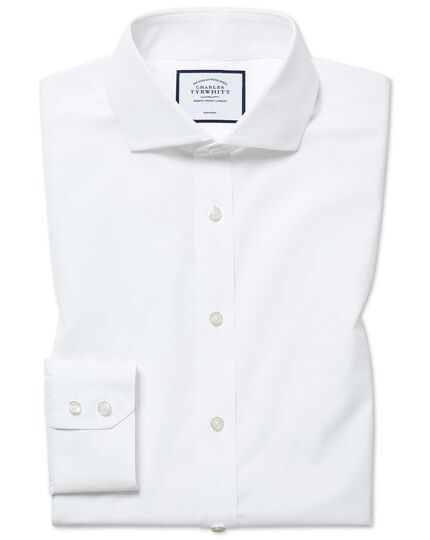 Extra slim fit cutaway non-iron natural cool white shirt