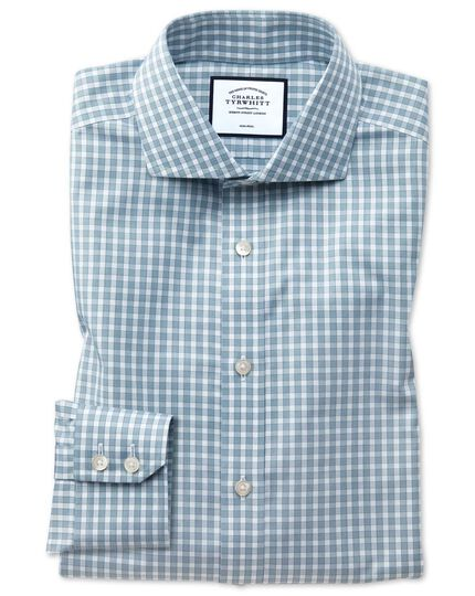 Extra slim fit non-iron twill teal gingham shirt