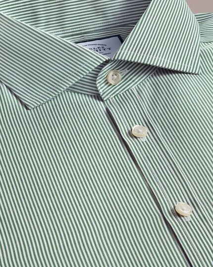 Extra slim fit non-iron cutaway collar olive Bengal stripe shirt