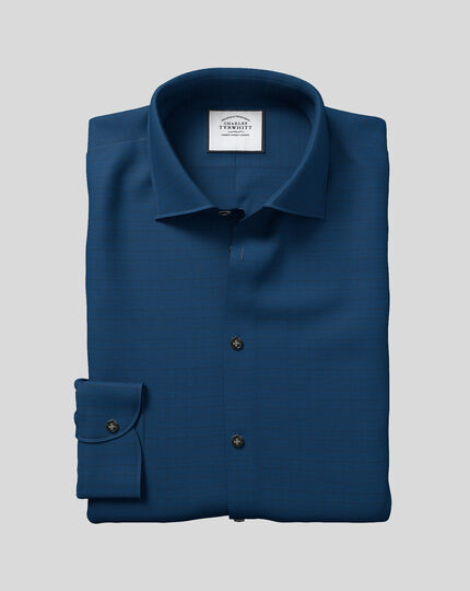 Business Casual Collar Check Shirt - Petrol Blue