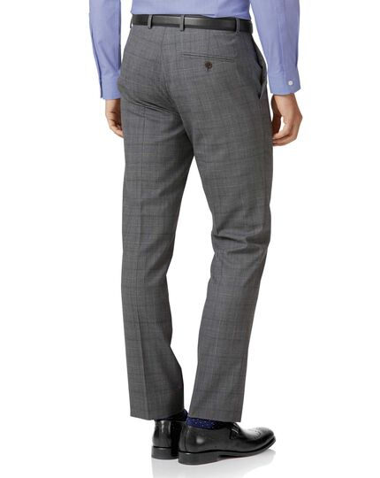 Pantalon de costume business en laine 3 brins gris clair slim fit à carreaux