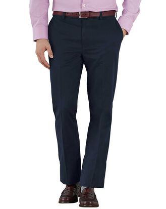 Navy slim fit flat front non-iron chinos