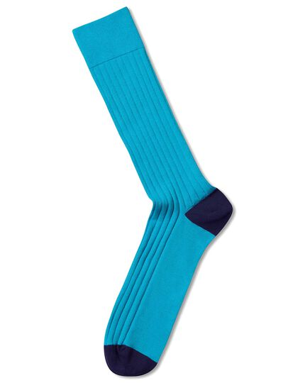Bright blue cotton rib socks