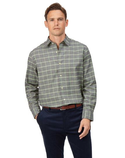 Classic Fit Hemd aus Baumwolle/TENCEL™ mit Prince of Wales Karos in Grau & Grün