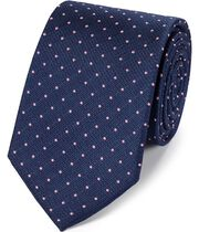 Navy and pink silk textured spot classic tie