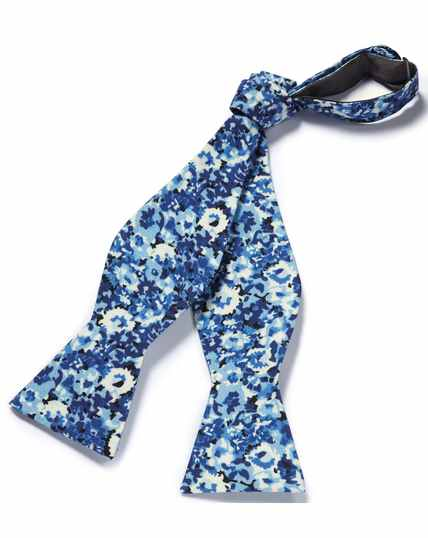 Blue floral cotton silk self tie bow tie