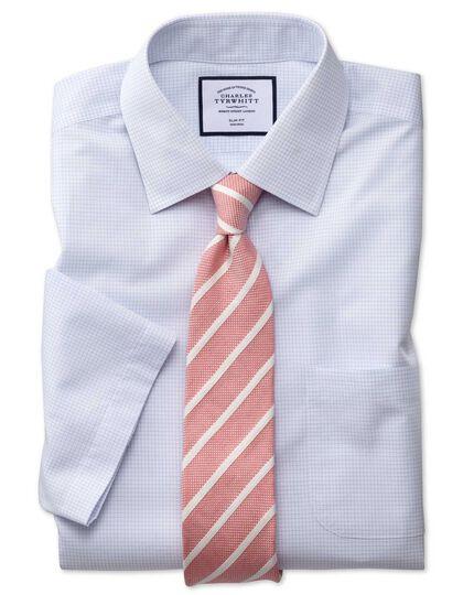 Slim fit non-iron micro check short shirt sleeve blue shirt