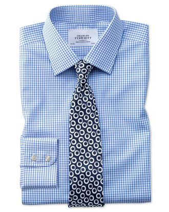 Slim fit non-iron grid check sky blue shirt
