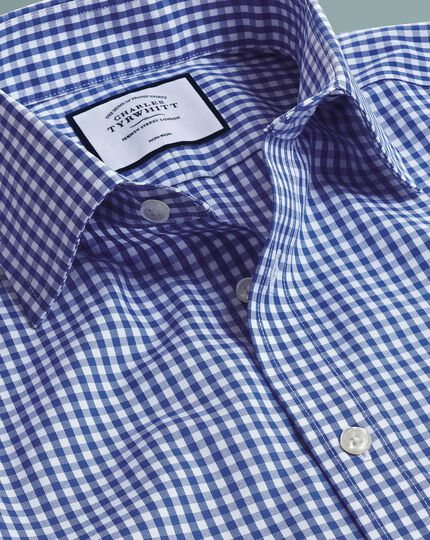 Slim fit non-iron twill royal blue check shirt