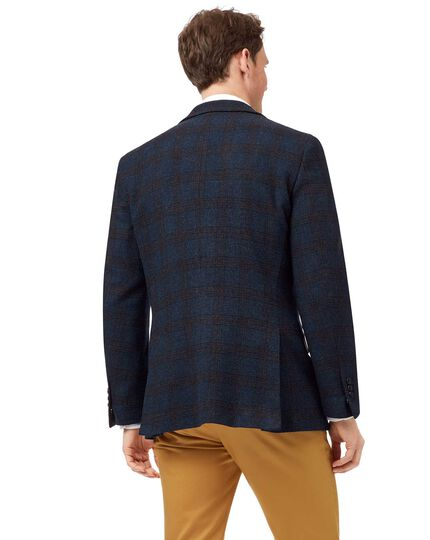 Slim fit blue check textured wool jacket