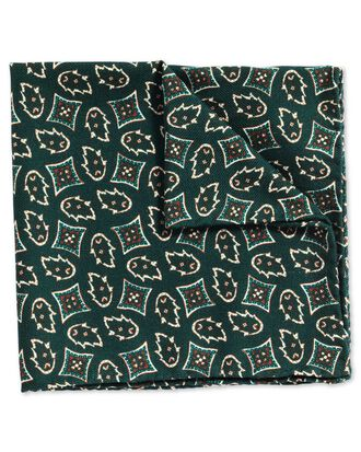 Green luxury Italian printed geometric pocket square