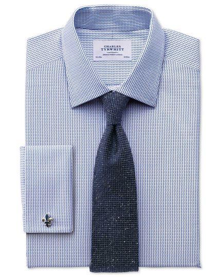 Classic Fit Hemd aus ägyptischer Baumwolle in Königsblau mit strukturierten Streifen