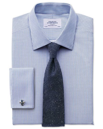 Classic fit Egyptian cotton textured stripe royal blue shirt