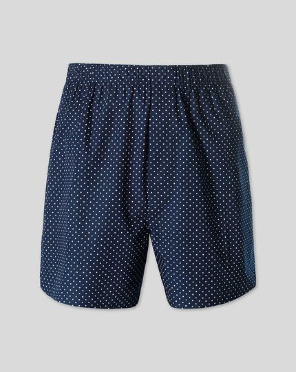 Printed Dot Woven Boxers - Navy & White