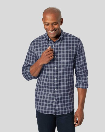 Button-Down Collar Soft Washed Non-Iron Twill Check Shirt - Navy & White
