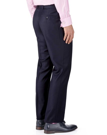 Ink blue classic fit birdseye travel suit pants