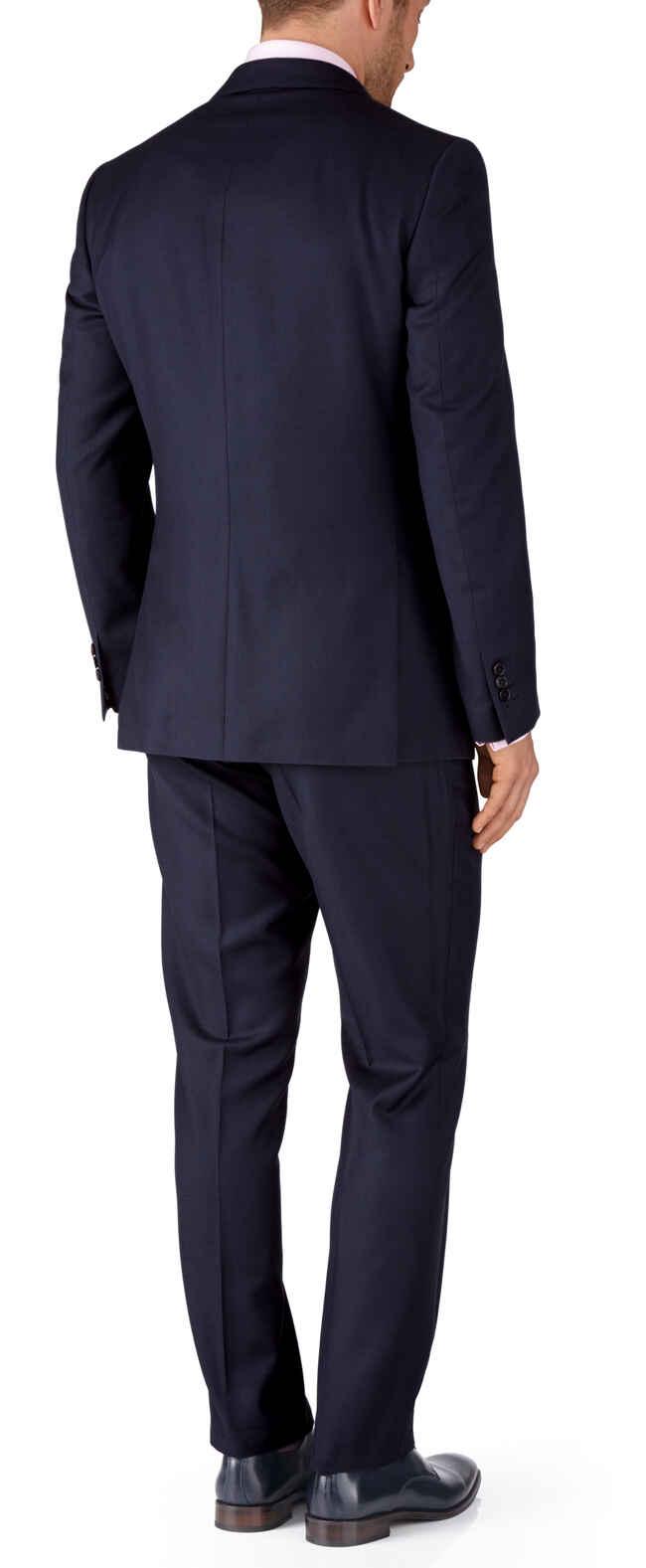 Ink blue slim fit birdseye travel suit